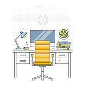 Back to school. Education. Home room interior. Desktop, chair, monitor