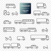 Transport icon, car, truck, bus, motorcycle, trailer. Vehicles. Line design, editable strokes