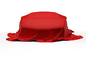 3d Covered Sport Car isolated on white background, New car presentation stock photo