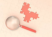 3d rendering magnifying glass and puzzle concept stock photo