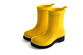 3d rendering yellow rubber boots stock photo