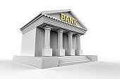 finance and economy concept Bank building isolated on white background stock photo