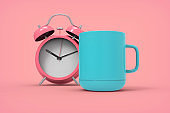 alarm clock and coffee cup morning concept stock photo