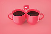 love like heart icons mugs on pink background mock-up, copy space stock photo
