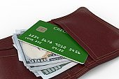 Paying with cash or credit card currency stock photo