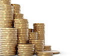 Pile of golden coins on white background stock photo