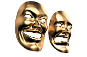 3d rendering Golden Drama and Comedy Masks isolated clipping mask on White stock photo