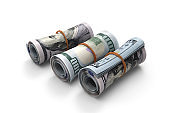 Cash bills as symbol of financial stability stock photo