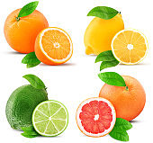 Fresh orange, lemon, lime, grapefruit whole and cut in half slice with leaf