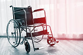 Wheelchair for sick people in the hospital.