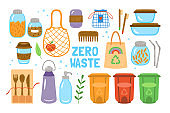 Zero Waste concept with cute elements of durable and reusable items.