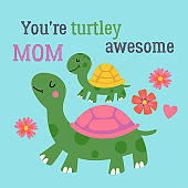 Mother's day greeting card design with cute turtle. Childish print for cards, stickers, apparel and nursery decoration