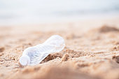 Garbage bottles in the sea