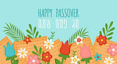 Passover Pesah holiday banner design with matzah and spring flowers
