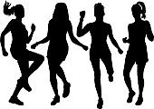 Women silhouettes on a white background.