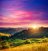 Beautiful green hills glowing by sunlight at twilight.