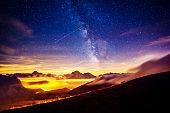 Sassolungo (Langkofel) and Sella group under starry light. Natural park Dolomites, valley Gardena, South Tyrol.