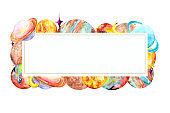 Colorful rectangular frame with the planets of the Solar system, the moon and stars on a white background with space for text. Watercolor business card with images of mercury, Mars, Venus, Saturn, Uranus, Neptune and Jupiter for illustrations on the theme