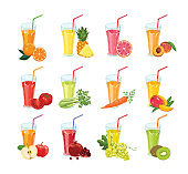 Set of fresh juices. Healthy drinks from different fruits, citrus and vegetables in glasses isolated on a white background.