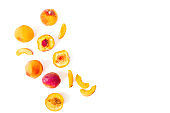 Tasty ripe peaches on white background. Sweet summer fruits. Top view. Flat lay