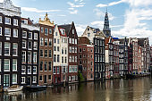 Traditional Dutch architecture colorful houses at Damrak in Amsterdam, Netherlands