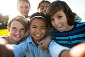 Multi-Ethnic Youth Outdoor Selfie stock photo