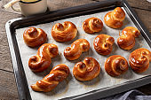 Freshly baked jidase - traditional Czech sweet Easter pastry made of yeast dough