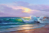 Sea wave on the beach at sunset time, sun rays, painting by oil on canvas.