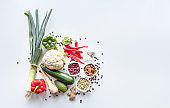 Fresh group of vegetables on white background