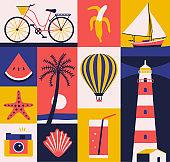 Vector summer illustration, flat icon set, travel poster, background.