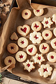 Linzer Christmas cookies filled with marmalade