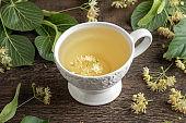 Linden flowers in a cup of herbal tea
