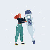 Vector illustration of woman holding huge big electronic thermometer