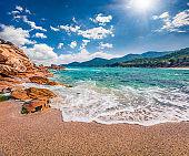 Azure summer seascape of Aegean Sea. Beautiful marine landscape of Cuba Beach, Olimpiada village location, Greece, Europe. Beauty of nature concept background.