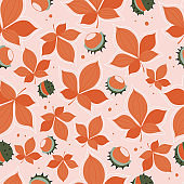 Modern seamless pattern with autumn orange leaves. Autumn background with leaves.