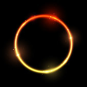 Bright fire circle on black background - vector shiny element