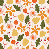 Seamless pattern with autumn elements. Autumn background with leaves.