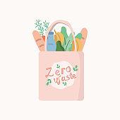 eco bag with food. Zero waste
