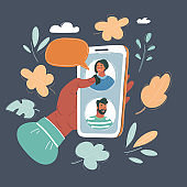 Vector illustration of Human hand hold a smartphone and sending messages to friends via messenger app.