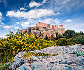 Great spring view of Parthenon, former temple, on the Athenian Acropolis, Greece, Europe. Colorful morning scene in Athens. Traveling concept background. Artistic style post processed photo.