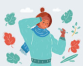 Woman with flu virus hold thermometer. Health concept. Woman in scarf have fever.