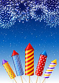 Festive greeting card with fireworks and rockets on starry night sky background
