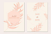 Tropical invitation card template. Tropical background