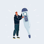 Vector illustration of man holding big thermometer on dark background