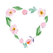 Cute watercolor hand drawn frames from flower isolated on a white background, for Valentine's Day greeting card, wedding card, romantic prints and scrapbooking.