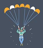Female parachute jumper.