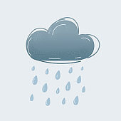 Vector illustration of raining grey cloud on white
