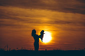 Silhouette of woman holding dog at sunset