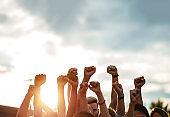 Protestors raising fists