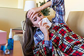 Ill Woman with the Flu at Home